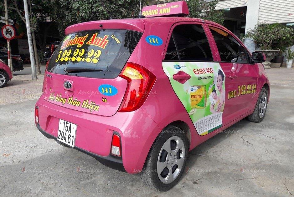 quảng cáo trên taxi hoàng anh