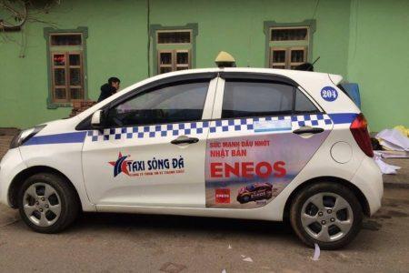 quảng cáo trên taxi sông đà
