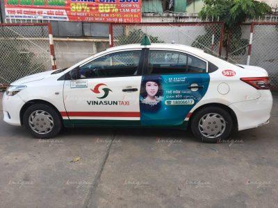 BB thanh mai quảng cáo trên taxi